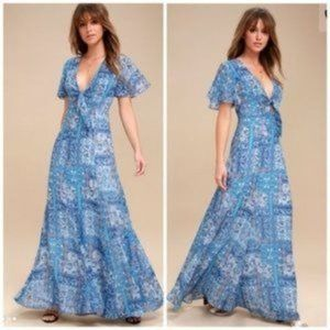 NWT Wings of Love Blue Print Maxi Dress - Size S